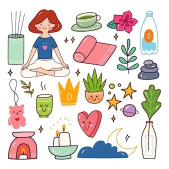 Conjunto de doodle kawaii para meditação, estilo de vida saudável