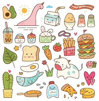 Conjunto de doodle kawaii