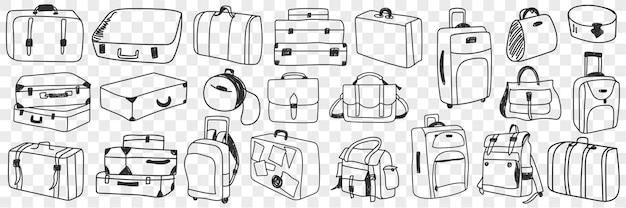 Conjunto de doodle mala de viagem