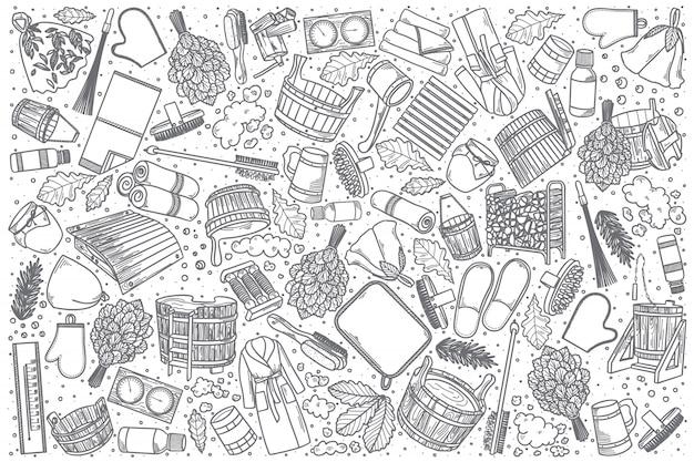 Conjunto de doodle mão desenhada bathhouse