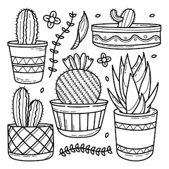 Conjunto de doodle mão desenhada cacto
