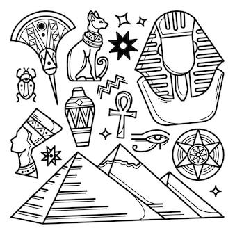 Conjunto de doodle mão desenhada egito