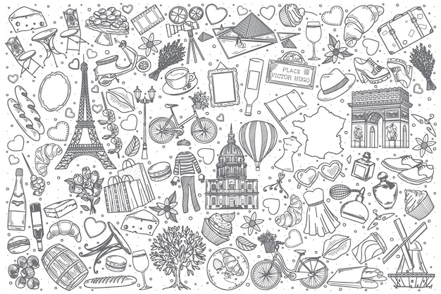 Conjunto de doodle mão desenhada frança