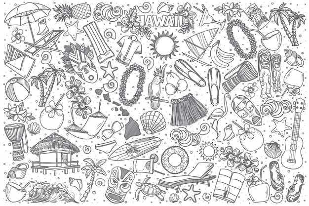Conjunto de doodle mão desenhada havaí