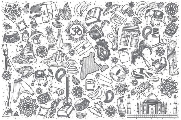 Conjunto de doodle mão desenhada índia
