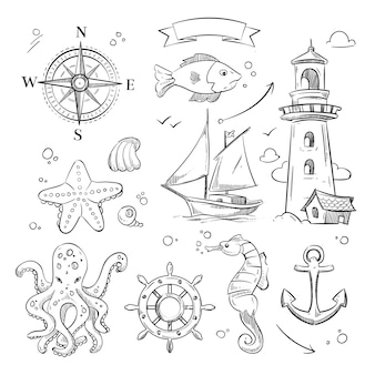 Conjunto de doodle marinho