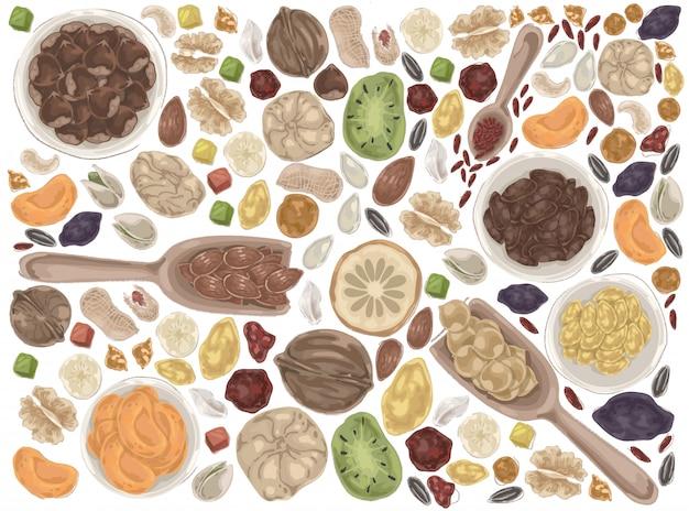 Conjunto de doodle nozes e frutas secas.