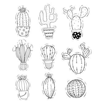 Conjunto de doodle ou mão desenhada cacto