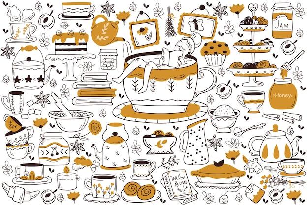 Conjunto de doodle para beber chá