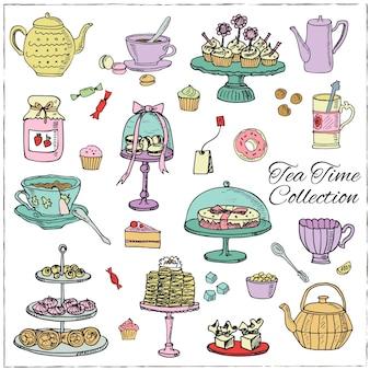 Conjunto de doodle para hora do chá desenhado à mão