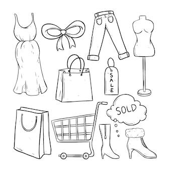 Conjunto de doodle preto e branco ou desenho de tempo de compras