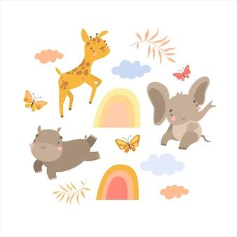 Conjunto de doodles animais safari e arco-íris