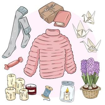 Conjunto de doodles de adesivo bonito hygge