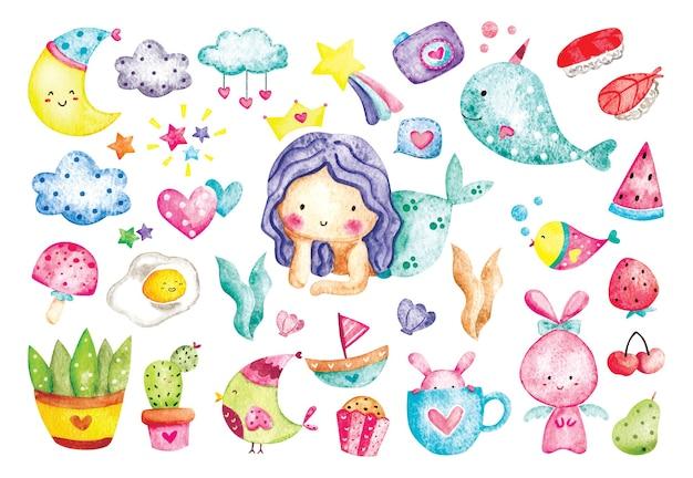Conjunto de doodles de coisas fofas em aquarela