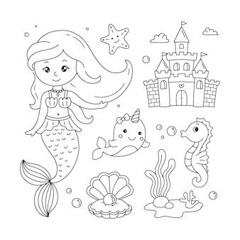 Conjunto de doodles de concha de castelo de baleia unicórnio sereia e plantas do mar para colorir livro infantil