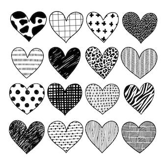 Conjunto de doodles de corações do dia dos namorados.