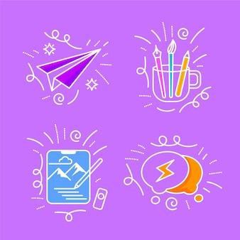 Conjunto de doodles de criatividade desenhada à mão
