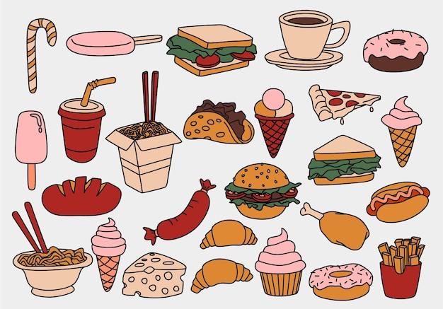 Conjunto de doodles de fast food