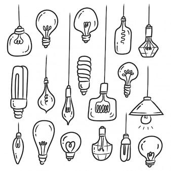 Conjunto de doodles de lâmpada isolado no branco