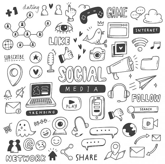 Conjunto de doodles de mídia social