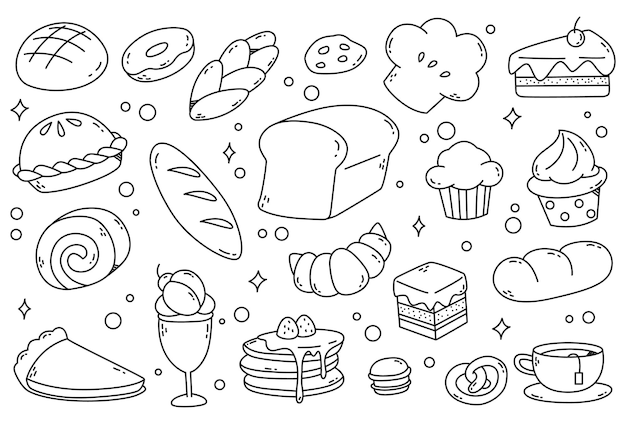 Conjunto de doodles de pão e bolo