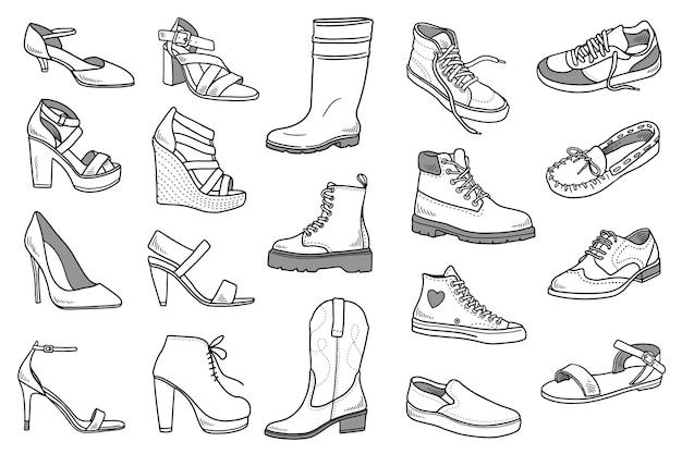 Conjunto de doodles de sapatos