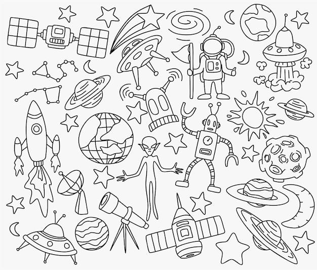 Conjunto de doodles do espaço