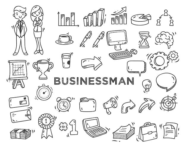 Conjunto de doodles do tema empresarial isolado no fundo branco