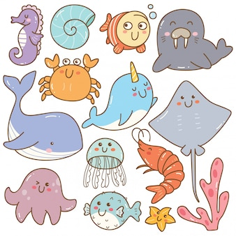Conjunto de doodles kawaii de animais do mar