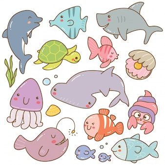 Conjunto de doodles kawaii de animais do mar