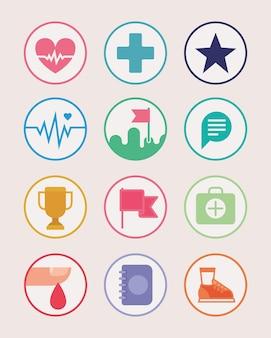 Conjunto de doze ícones de aplicativos