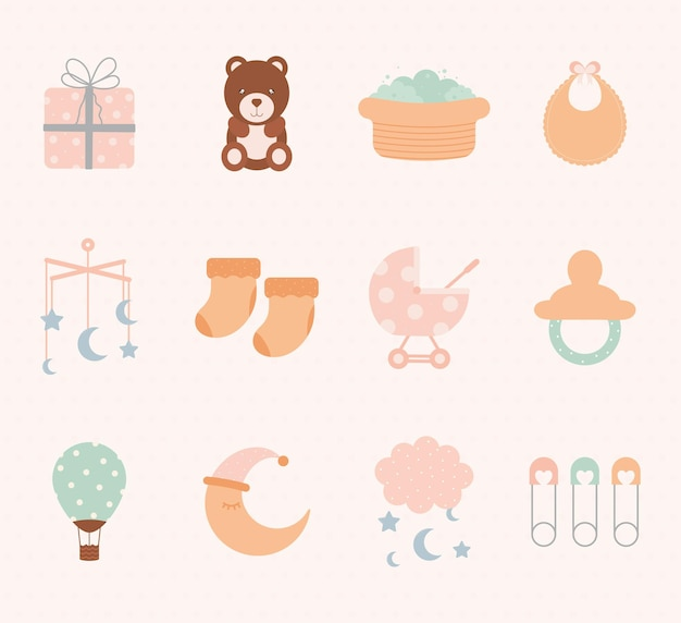 Conjunto de doze ícones de bebê