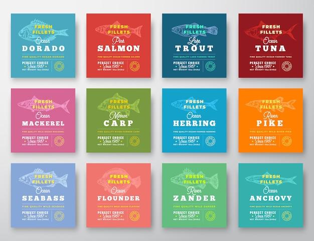 Conjunto de doze rótulos de qualidade premium de filetes de peixe.