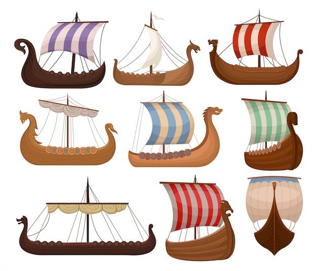 Conjunto de draccars escandinavos viking, navio normando com vendas de cores ilustrações sobre um fundo branco