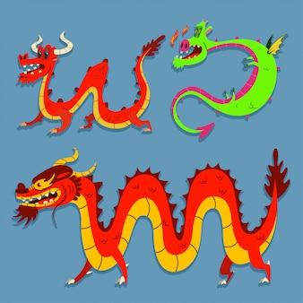 Conjunto de dragões chineses bonito dos desenhos animados.