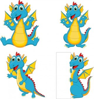 Conjunto de dragões dos desenhos animados com sinal em branco