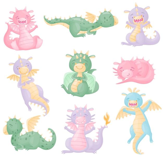 Conjunto de dragões fofos de cores diferentes com asas
