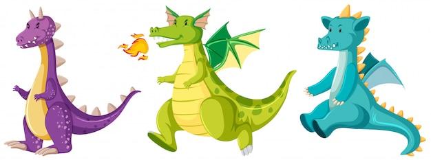 Conjunto de dragões fofos