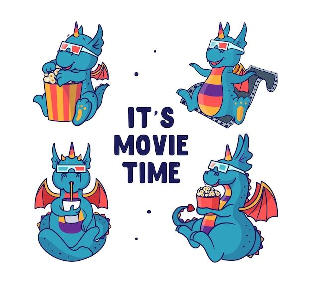 Conjunto de dragões que estão assistindo a um filme e comendo. monstros-unicórnio arco-íris.