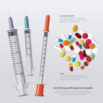 Conjunto de droga com agulha de injeção realista