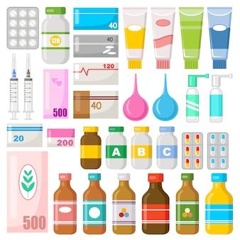 Conjunto de drogas. vitaminas, medicamentos, pílulas, pomadas