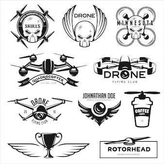 Conjunto de drone voando clube logotipo conjunto