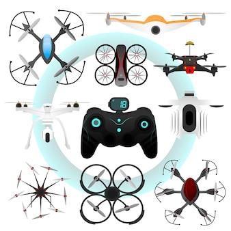 Conjunto de drones de vetor.
