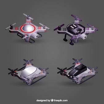 Conjunto de drones de visão superior realista