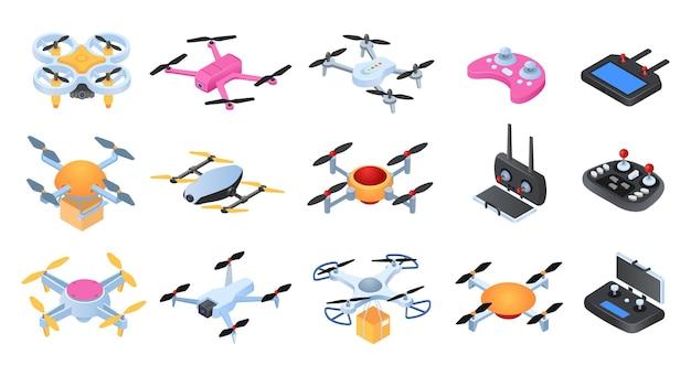 Conjunto de drones em vista isométrica