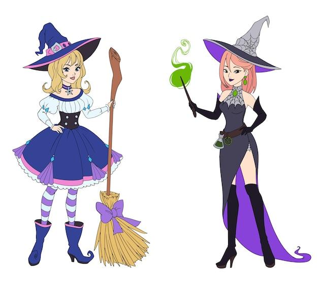 Conjunto de duas bruxas segurando a vassoura e a varinha mágica.