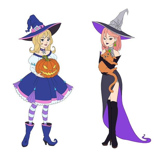 Conjunto de duas bruxas segurando um gato vermelho e abóbora de halloween.