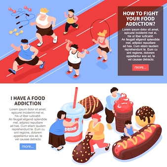 Conjunto de duas composição de gula excessiva isométrica horizontal com imagens de pessoas fazendo esportes comendo ilustração de comida
