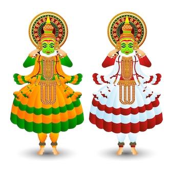 Conjunto de duas cores diferentes de dançarina kathakali para o festival indiano onam.