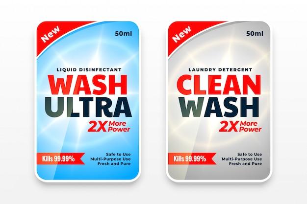 Conjunto de duas etiquetas de detergente para a roupa